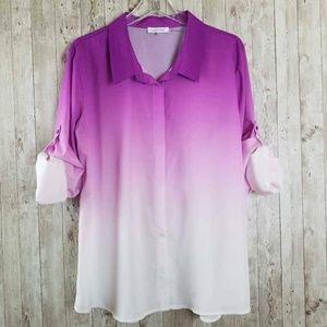 Calvin Klein Ombre Button Front Roll Tab Shirt XL
